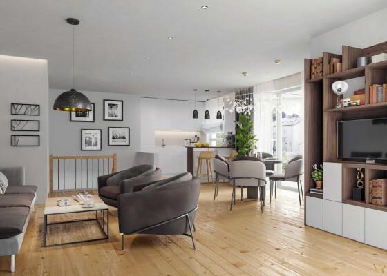 Interior visualization of a living room, Munich